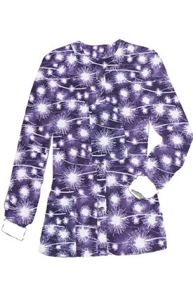 Jacket 2 pocket printed unisex full sleeve in purple fire work print with rib