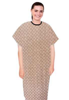 Patient gown half sleeve  printed back open, Small Brown Flower Print with Black Piping, Sizes XS-9X (100% Polyester Fabric)