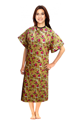 Patient gown half sleeve  printed back open, Paris Print, Sizes XS-9X