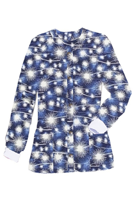Jacket 2 pocket printed unisex full sleeve in blue fire work print with rib