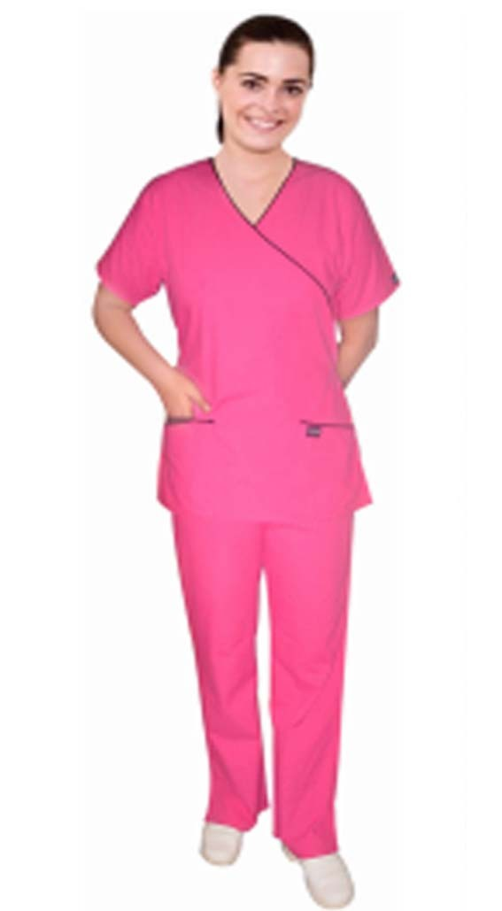 Stretchable Scrub Set Mock Wrap 5 pocket solid half sleeve  (top 3 pocket with bottom 2 pocket boot cut) in 35% Cotton 63% Polyester 2% Spandex
