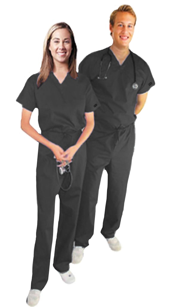 Stretchable Scrub Set 2 Pocket Normal Unisex Solid Half Sleeve (Top 1 Pocket with Bottom 1 Pocket) in 35% Cotton 63% Polyester 2% Spandex