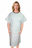 Patient gown half sleeve back open, Green Square Print, Sizes XS-9X