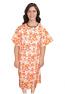 Patient gown half sleeve printed back open, Petal Orange Print, Sizes XS-9X