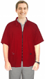 Microfiber barber jacket with collar 3 pocket half sleeve with zipper