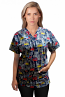 Printed scrub set 4 pocket ladies half sleeve Building And Bus Print (2 pocket top and 2 pocket black pant)
