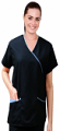 Scrub Top mock wrap 3 pocket half sleeve solid in Memory Fabric Water Proof 100 perc polyester