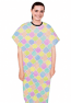 Patient gown half sleeve  printed back open, Light Multicolor Geometric Print with Black Piping, Sizes XS-9X (100% Polyester Fabric)