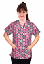 Printed scrub set 4 pocket ladies half sleeve in pink ribbon (2 pocket top and 2 pocket black pant)