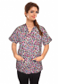 Printed scrub set 4 pocket ladies half sleeve in purple and pink (2 pocket top and 2 pocket black pant)