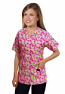 Printed scrub set 4 pocket ladies half sleeve Petal Story print (2 pocket top and 2 pocket black pant)