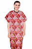 Patient gown half sleeve  printed back open, Brown flowers with yellow filling print with Black Piping, Sizes XS-9X (100% Polyester Fabric)