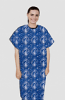 Patient gown half sleeve  printed back open, Blue with Blue Classical Print with Black Piping, Sizes XS-9X