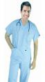 Stretchable Scrub set 6 pocket solid unisex half sleeve (3 pocket top 3 pocket pant) in 35% Cotton 63% Polyester 2% Spandex