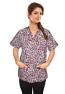 Top v neck 2 pocket half sleeve in purple and pink print