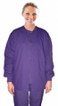 Stretchable Scrub jacket 3 pocket solid ladies full sleeve with rib snap button in 35% Cotton 63% Polyester 2% Spandex
