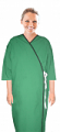 New Patient gown  front open solid 3/4 sleeve with contrast piping tie able, Sizes XS-9X