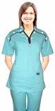 Stylish top small white flower m style collar 2 pocket ladies scrub top half sleeve