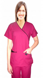 Scrub Set mock wrap 5 pocket half sleeve  (top 3 pocket with bottom 2 pocket boot cut) in Memory Fabric Water Proof 100 perc Polyester