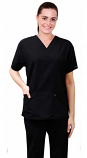 Scrub set 4 pocket half sleeve ladies (2 front pocket top & 2 side pocket pant) in Memory Fabric Water Proof 100 Perc Polyester