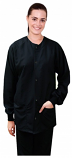 Scrub Jacket 2 pocket full sleeve solid unisex with rib Snap Button in Memory Fabric Water Proof 100 perc polyester