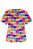 Top mock wrap 3 pocket half sleeve in Multicolor Geometric print with Black Piping (100% Polyester Fabric)