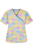 Top mock wrap 3 pocket half sleeve in Light Multicolor Geometric Print with Black Piping (100% Polyester Fabric)