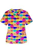 Top v neck 2 pocket half sleeve in Multicolor Geometric print (100% Polyester Fabric)