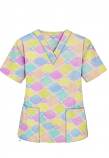Top v neck 2 pocket half sleeve in Light Multicolor Geometric print (100% Polyester Fabric)
