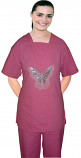 Stylish top big silver butter fly square v-neck style half sleeve 2 pocket top