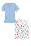 Printed Scrub skirt set 4 pocket ladies half sleeves (2 pocket top 2 pocket skirt in Cherry Blossom Print)