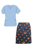Printed Scrub skirt set 4 pocket ladies half sleeves (2 pocket top 2 pocket skirt in Navy Print with Red Flower)