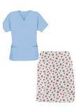 Printed Scrub skirt set 4 pocket ladies half sleeves (2 pocket top 2 pocket skirt in Red and Black flower Print)