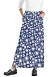 Cargo pockets ladies skirt A  Line Full Elastic waistband ladies skirt in Blue Fire Work Print