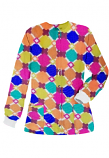Jacket 2 pocket printed unisex full sleeve in Multicolor Geometric print with rib (100% Polyester Fabric)
