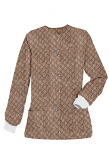 Jacket 2 pocket printed unisex full sleeve in Small Brown Flower Print with rib (100% Polyester Fabric)