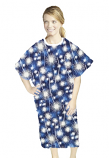 Patient gown half sleeve printed  back open, Blue Fire Work Print, Sizes XS-9X