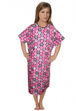 Patient gown half sleeve printed back open, Pink Ribbon Print, Sizes XS-9X