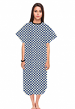 Patient gown half sleeve  printed back open, Blue Square Print, Sizes XS-9X