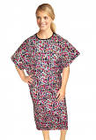 Patient gown half sleeve printed back open, Purple and Pink print, Sizes XS-9X
