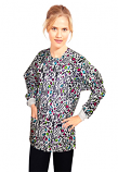 Jacket 2 pocket printed unisex full sleeve in Leopard print with rib