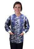 Jacket 2 pocket printed unisex full sleeve in Blue and White Flower