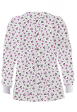 Jacket 2 pocket printed unisex full sleeve in Pink and Black Flower Print with rib