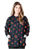 Jacket 2 pocket printed unisex full sleeve in Navy Print with Red Flower with rib