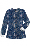 Jacket 2 pocket printed unisex full sleeve in Blue with Pink Classical Print with rib