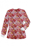 Jacket 2 pocket printed unisex full sleeve in Brown flowers with yellow filling print with rib (100% Polyester Fabric)