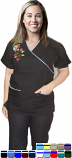 Scrub set with mock wrap 5 pocket half sleeve embroidered (top 3 pkt with bottom 2 pkt boot cut)