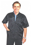 Printed Barber jacket collar style 3 pockets half sleeve with zipper in poplin fabric 48% cotton 42% polyester