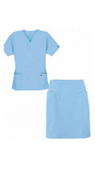 Stretchable Scrub skirt set 4 pocket ladies half sleeves (2 pocket top 2 pocket skirt) in 35% Cotton 63% Polyester 2% Spandex