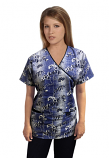 Top mock wrap 3 pocket half sleeve in Blue and white flower Print with black piping